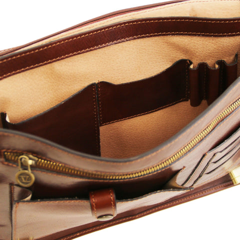 Certaldo 2 Compartments Leather Messenger Bag TL141344