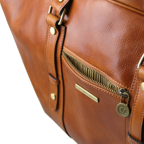 TL VOYAGER Italian Leather travel bag with front pocket TL141401 - Executive Leather
