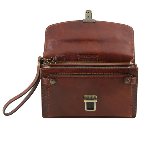 Tuscany Leather Arthur Exclusive Leather Handy Wrist Bag For Man TL141444 - Executive Leather