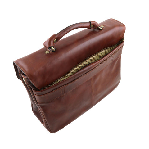 Tuscany Leather Alessandria Leather Laptop Briefcase TL141448 - Executive Leather