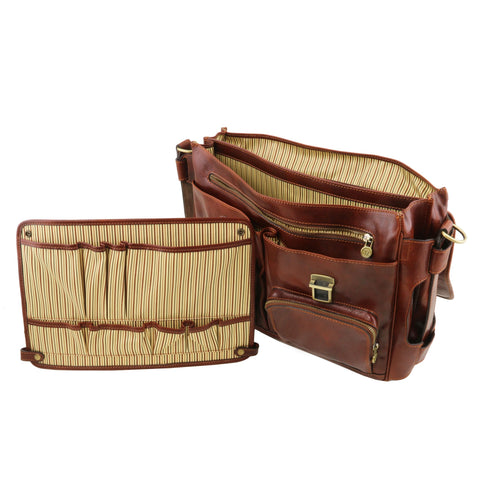 Tuscany Leather Ventimiglia Leather Multi Compartment Briefcase with Front Pockets TL141449 - Executive Leather