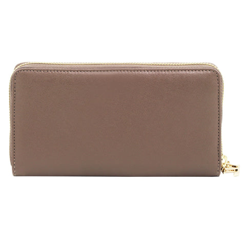 Exclusive 2 compartments Saffiano leather wallet for woman with zip closure TL141462 - Executive Leather