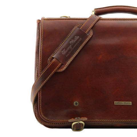 Tuscany Leather Ancoma Leather Messenger Bag Large size TL10025 - Executive Leather