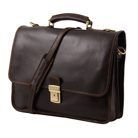 Tuscany Leather Torino Leather Briefcase 2 compartments TL10029 - Executive Leather