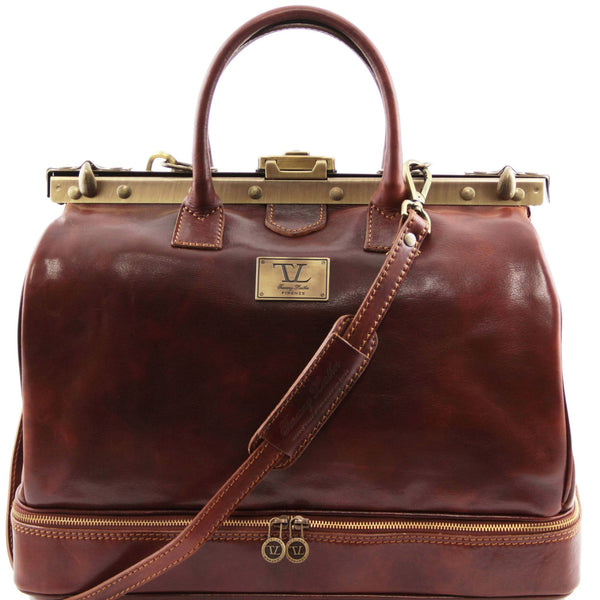 Tuscany Leather Barcellona Double Bottom Gladstone Italian Leather Bag TL141185 - Executive Leather