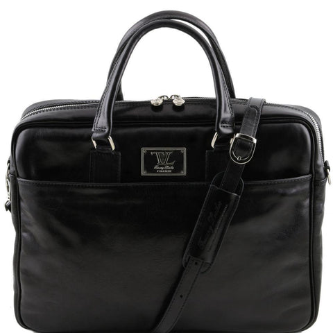 Tuscany Leather Urbino Leather Laptop Briefcase with front pocket TL141241 - Executive Leather