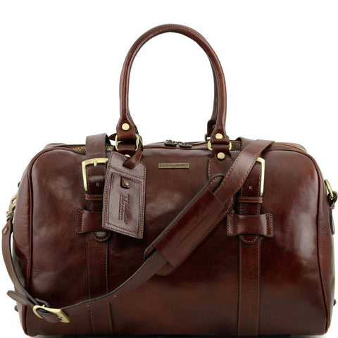 Tuscany Leather Voyager Italian Leather Travel Bag Wth Front Straps Small Size TL141249 - Executive Leather