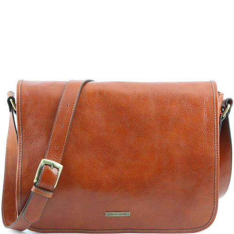 Tuscany Leather Messenger One Compartment Leather Bag Large Size TL141253 - Executive Leather