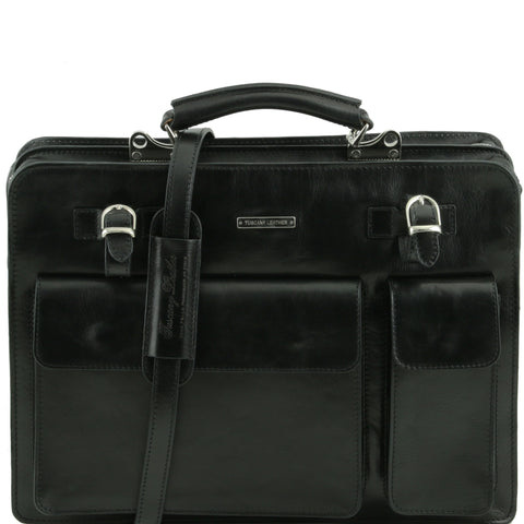 Tuscany Leather Venezia Leather Briefcase 2 compartments TL141268 - Executive Leather