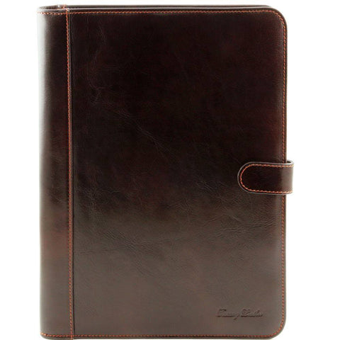 Leather Document Case with Button Closure TL141275 - Executive Leather