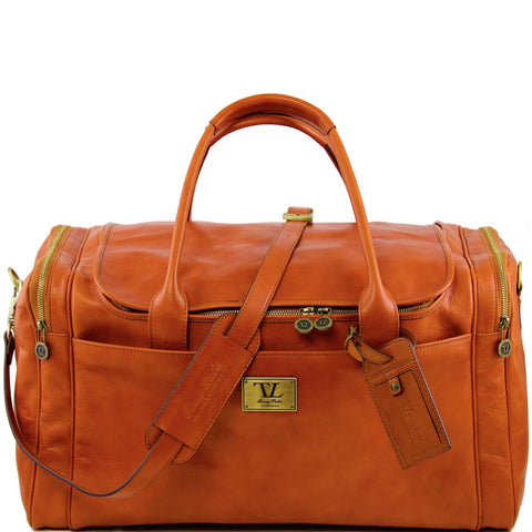 VOYAGER Travel Leather Bag With Side Pockets Large Size TL141281 - Executive Leather