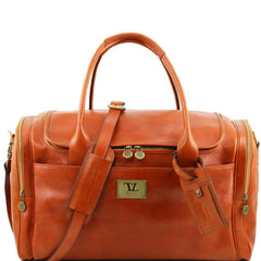 VOYAGER Italian Travel leather bag with side pockets TL141296