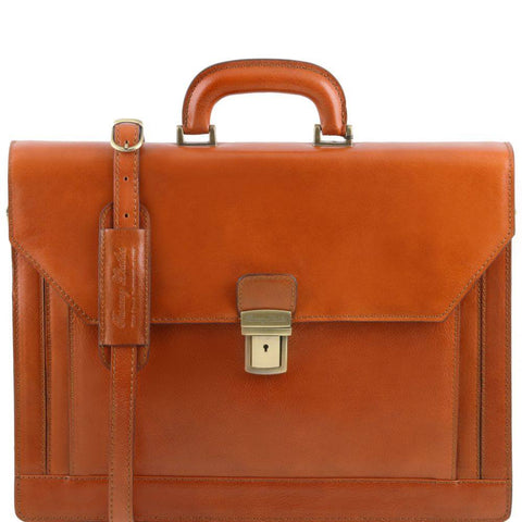 Tuscany Leather Nopoli Leather Briefcase with front pocket TL141348 - Executive Leather