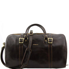 Image of Berlin Travel Leather Duffle Bag with Front Straps Large Size TL1013