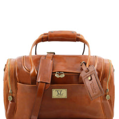 VOYAGER Travel leather bag with side pockets - Small size TL141441