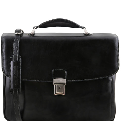 Alessandria 4 Compartments Leather Laptop Briefcase For Men TL141448