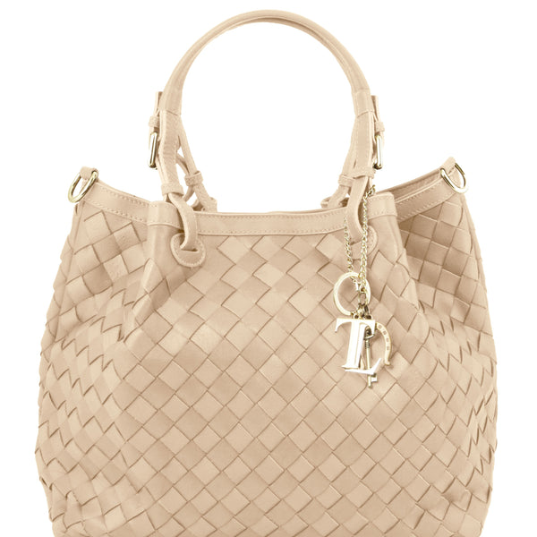 Woven Leather Shopping Bag - Small Size TL141540