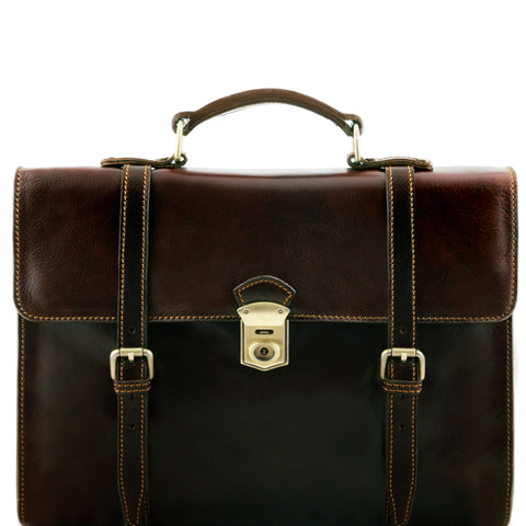 Tuscany Leather Viareggio Exclusive leather laptop case with 3 compartments TL141558 - Executive Leather