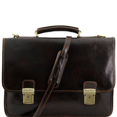 Firenze 2 Compartments Italian Leather Briefcase TL10028
