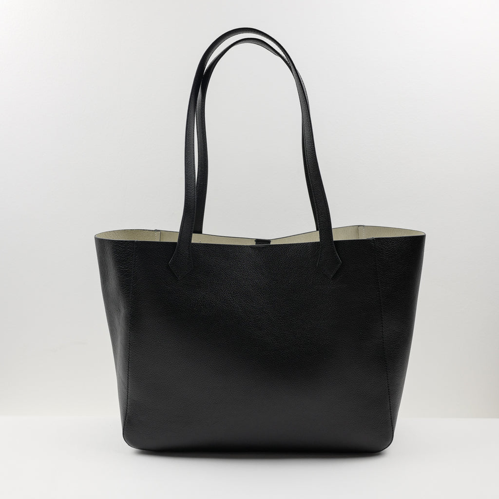 1140 Medium Tote Bag in Black Calf