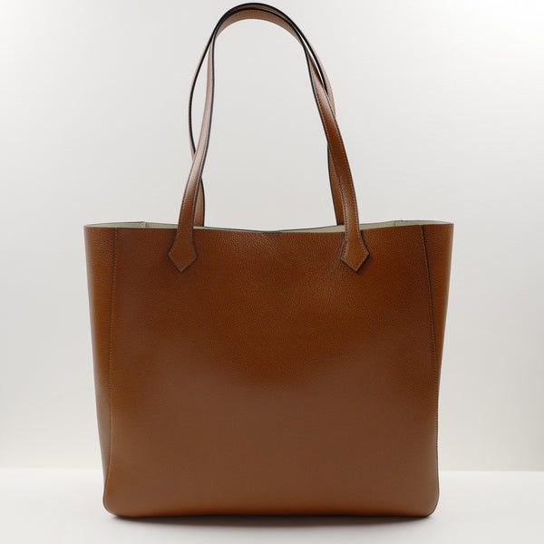 1142 Square Tote Bag in Medium Brown Calf