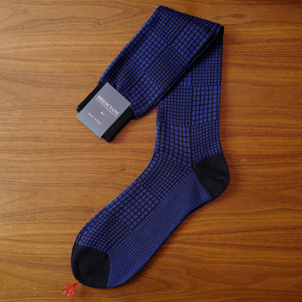 Blue Checkerboard Cotton over-the-calf Socks