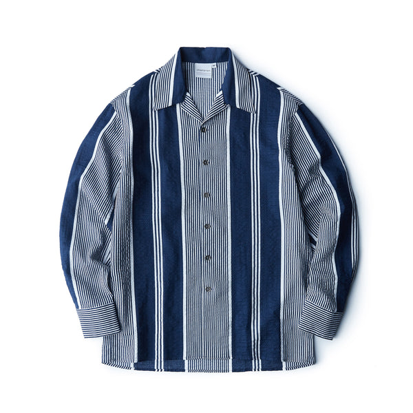 Navy Stripes Seersucker Shirt