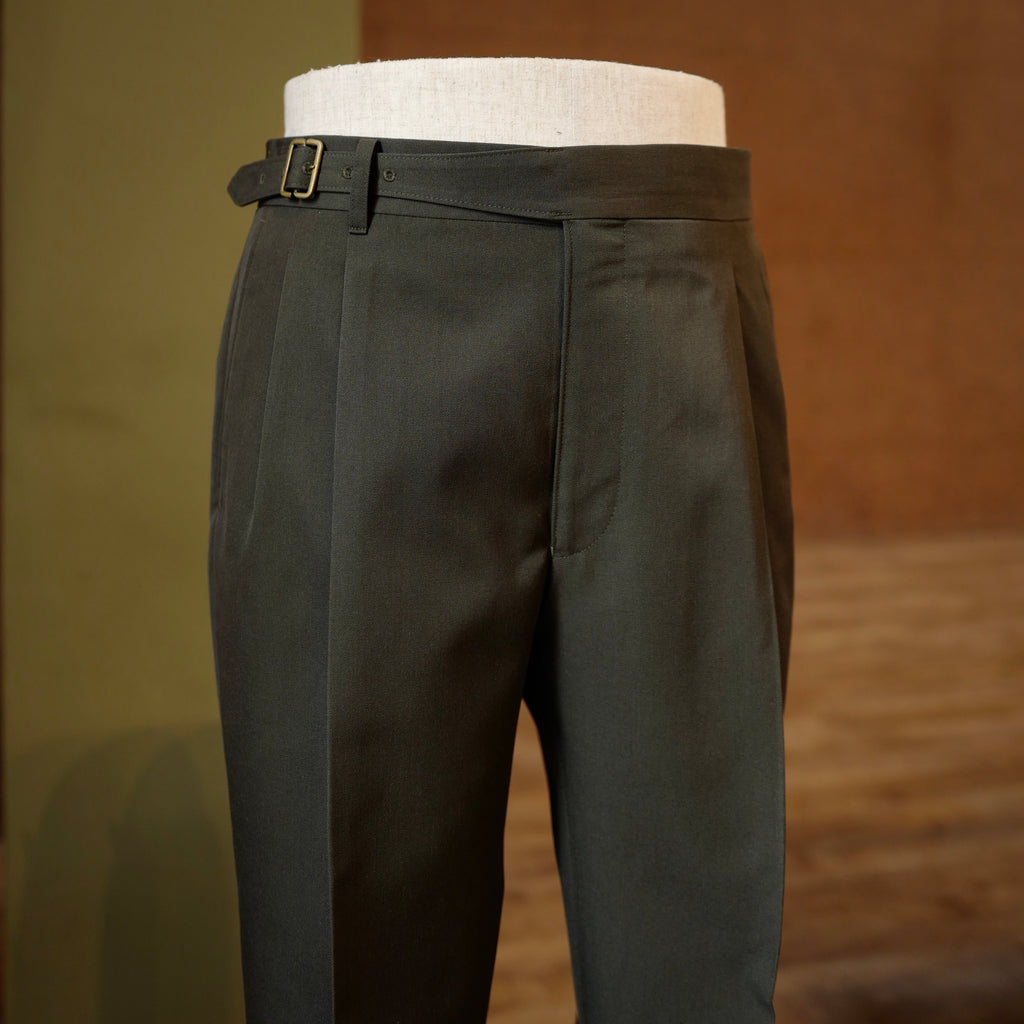 Olive Green Vintage Wool Gurkha Trousers