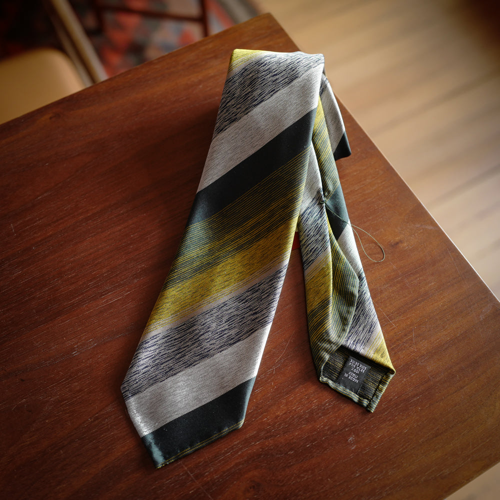 Green 7-Fold Silk Tie with Bayadere Stripes