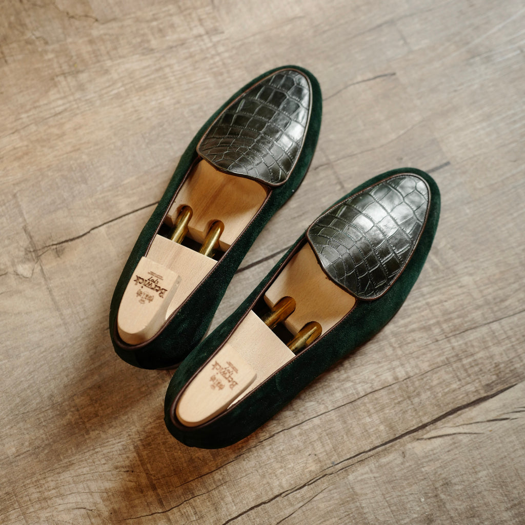 4950 Croco Loafers in Night Green