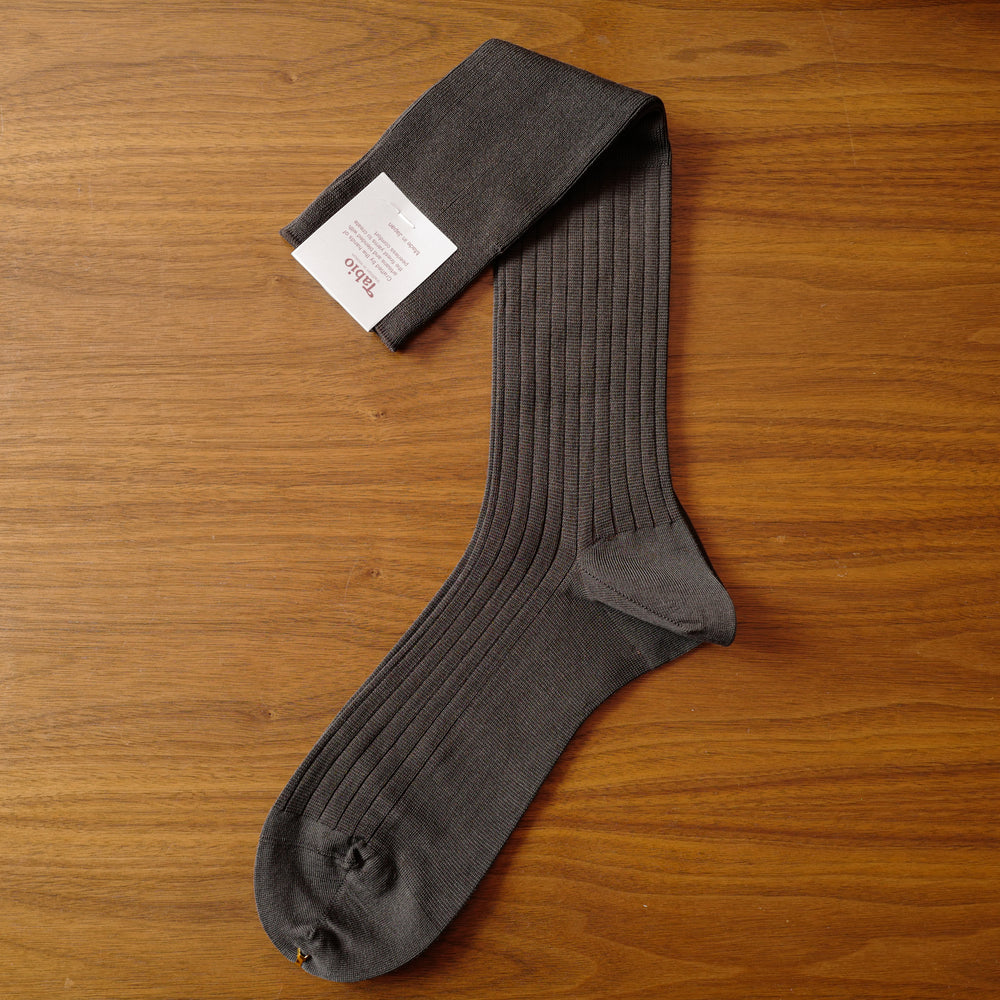 Brown DEOCELL® over-the-calf Ribbed Socks