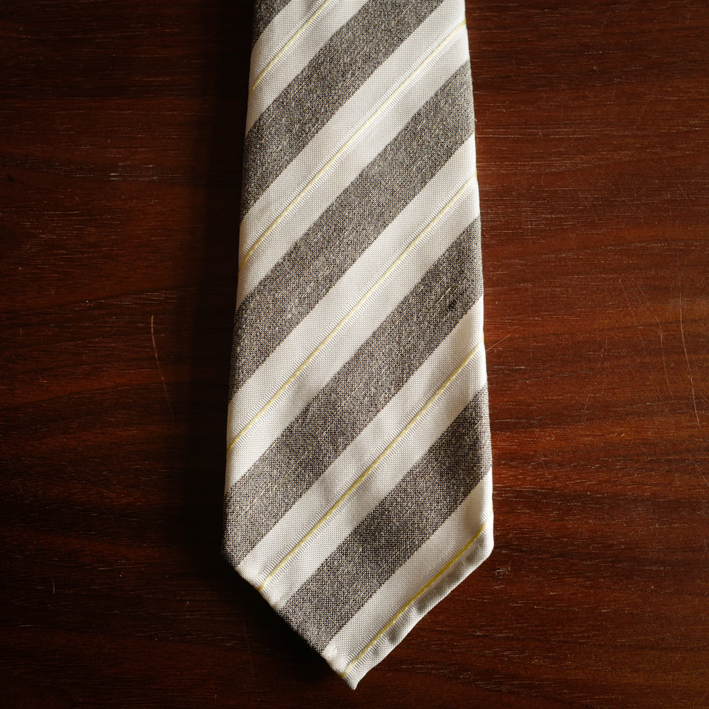 Brown 7-Fold Woven Regimental Silk Tie