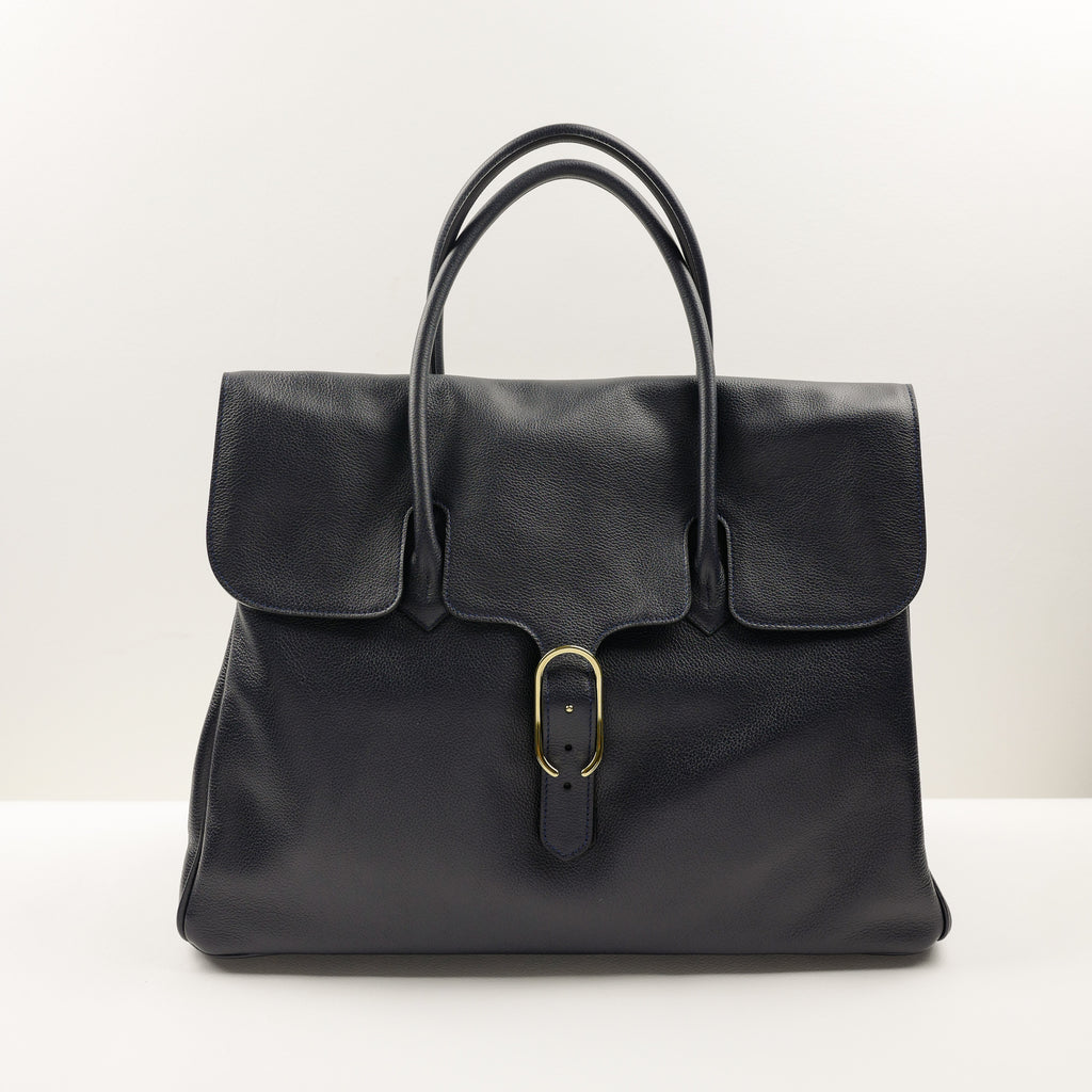 981 Tote Bag with Flap in Navy Calf
