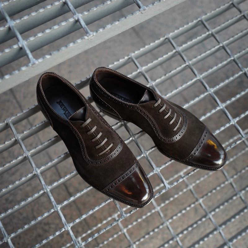 Adelaide Oxford in Suede and Dark Brown French Calf