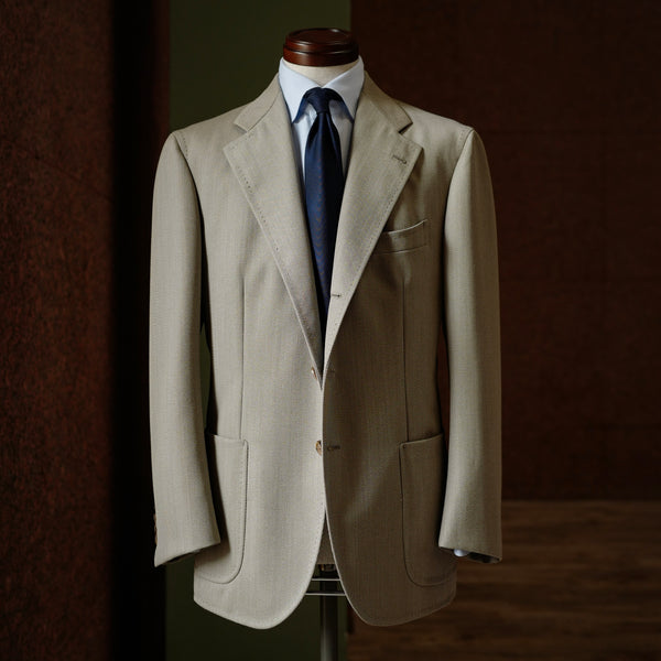 Beige Covert Cloth Single-breasted Jacket