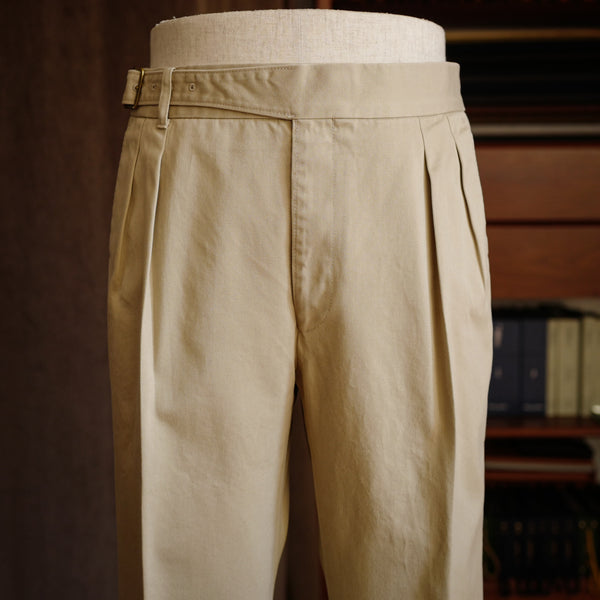 Beige Cotton Gurkha Trousers