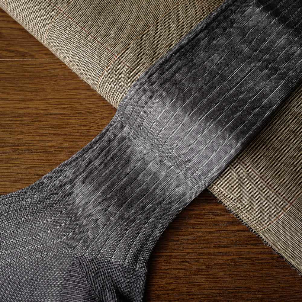 Grey Cotton over-the-calf Ribbed Socks