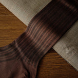 Brown Cotton over-the-calf Socks with Multi Stripes