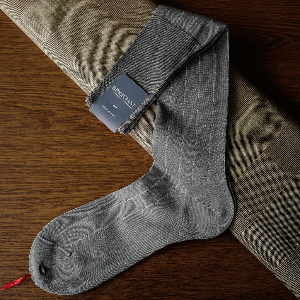 Grey Cotton over-the-calf Socks with Pin Stripes