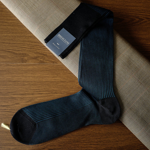 Navy Cotton over-the-calf Socks with Stripes