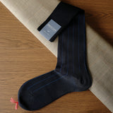 Navy Cotton over-the-calf Socks with Pin Stripes