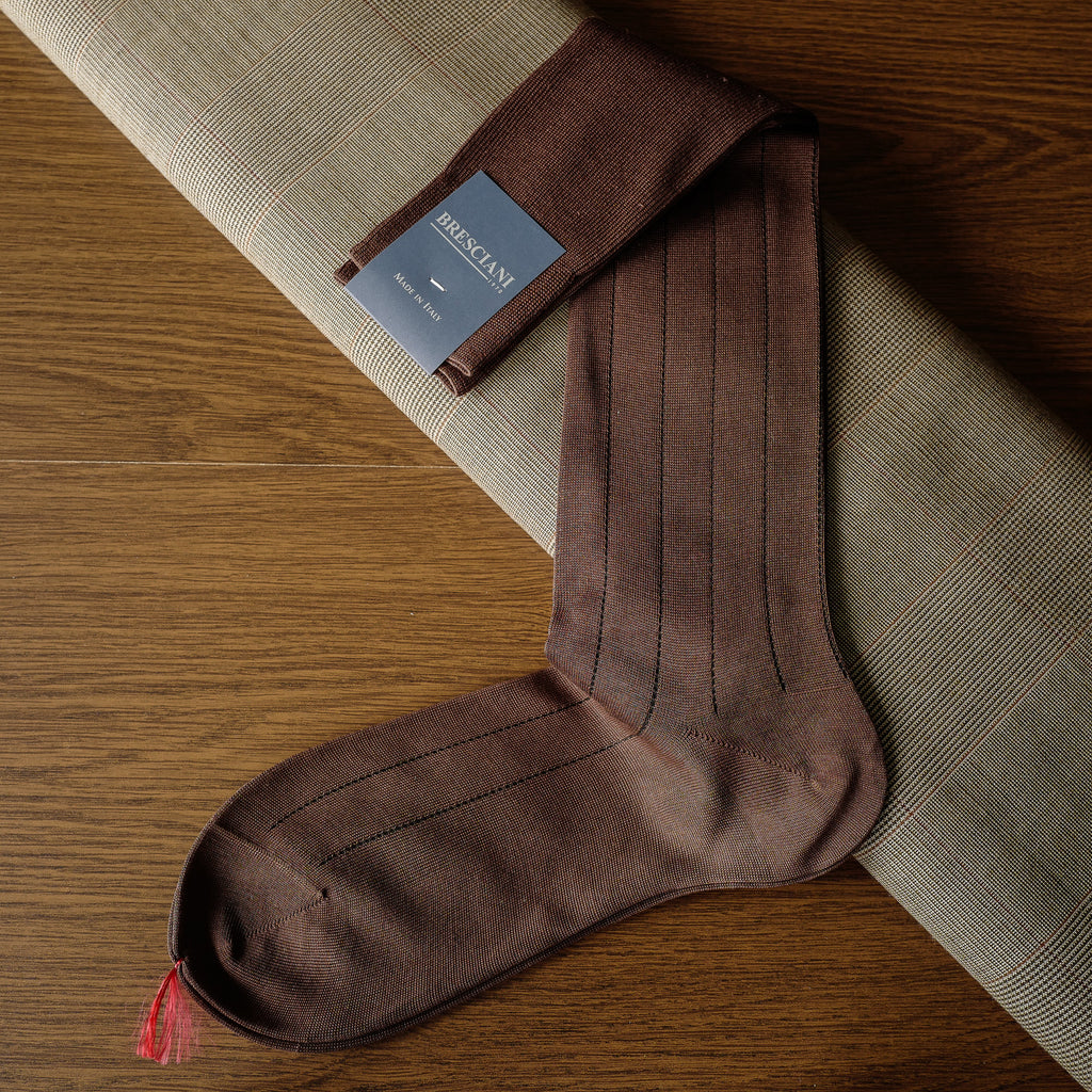 Brown Cotton over-the-calf Socks with Pin Stripes