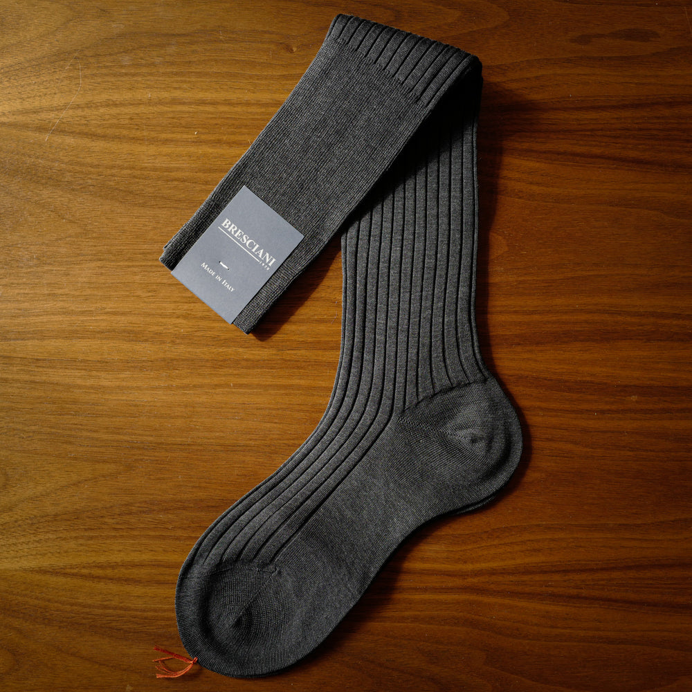 Grey Melange Cotton over-the-calf Socks