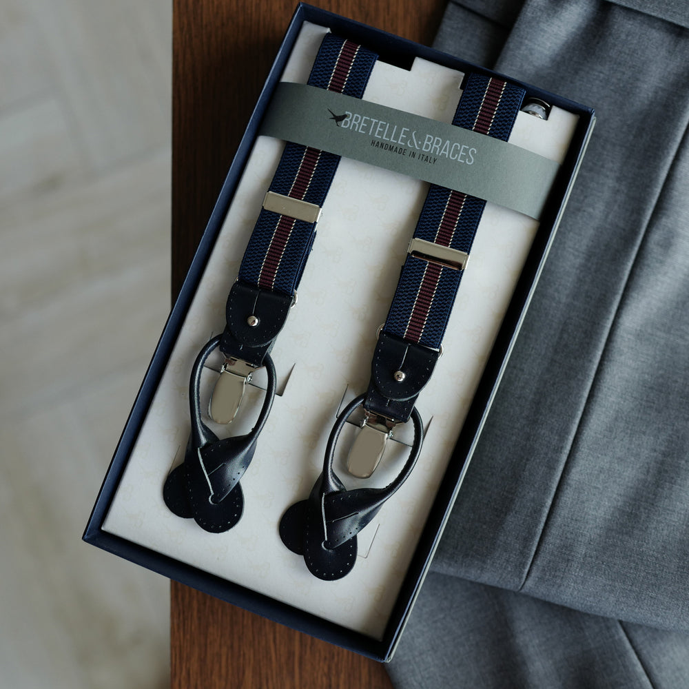 Navy Elastic Braces with Burgundy Regimental Stripe