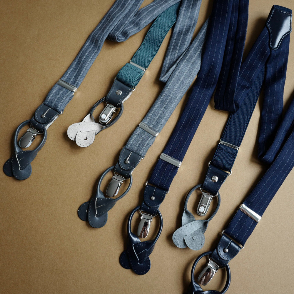 Navy Suiting Cloth Braces with Pinstripes