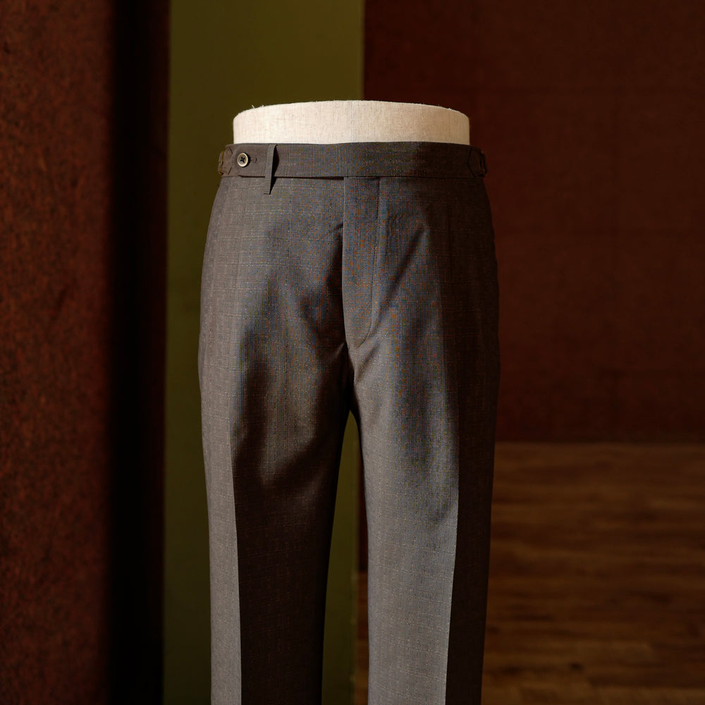 Brown textured Wool Trousers