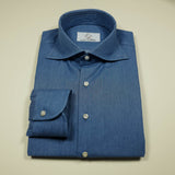 Mid Blue Chambray Shirt with Cut-away collar