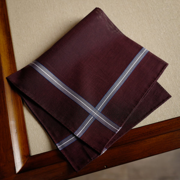 Chevron Pocket Square in Burgundy