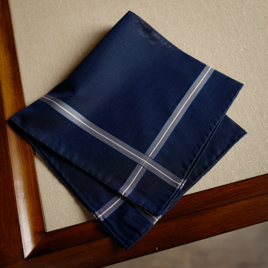Chevron Pocket Square in Navy