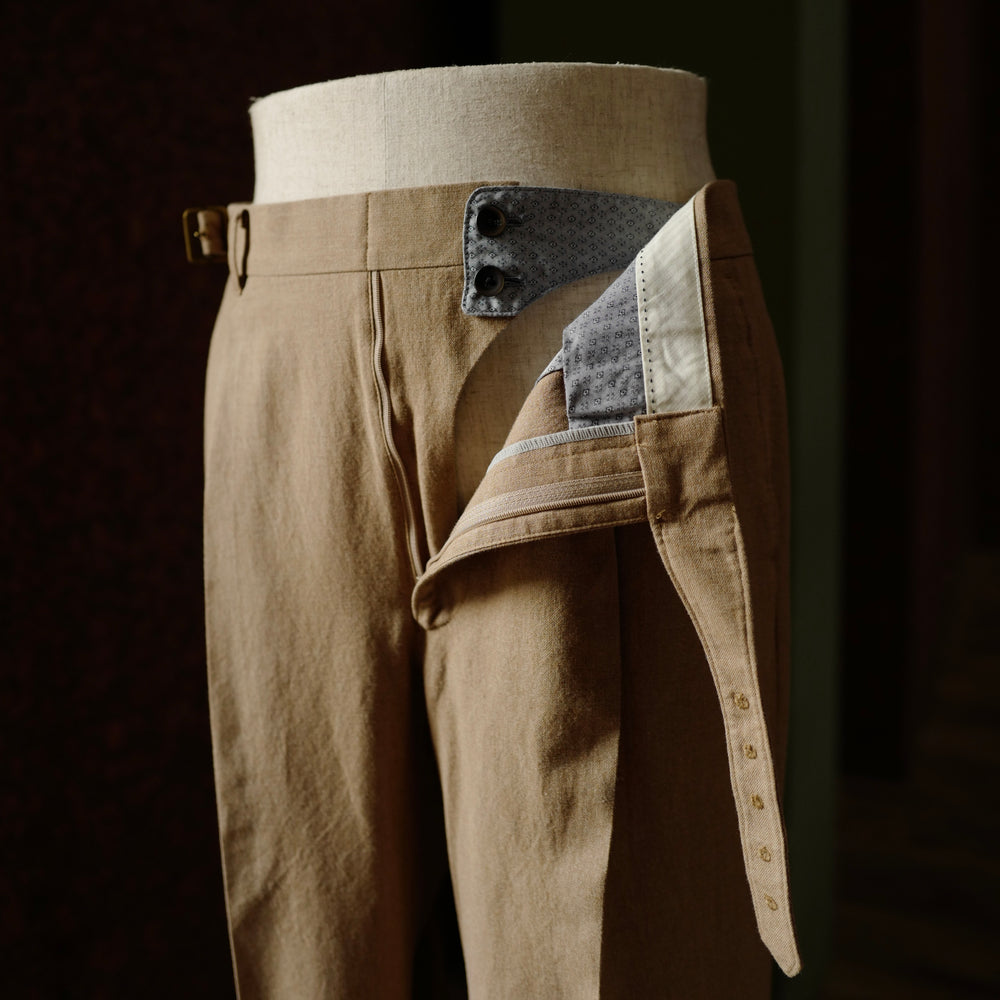 Brown Cotton Fresco Gurkha Trousers